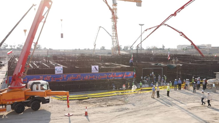 Concrete poured for Bushehr unit 2