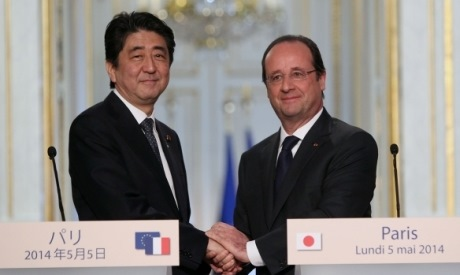 Abe and Hollande, May 2014 (Elysee) 460x275