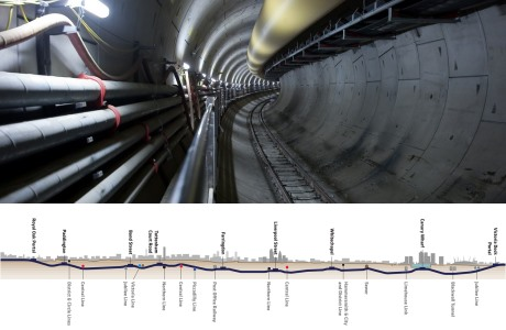Crossrail tunnel and cross-section (Crossrail) 460x300
