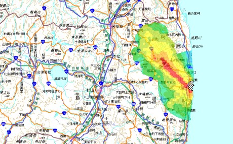 Fukushima dispersal dose map, Feb 2012 (460x286)